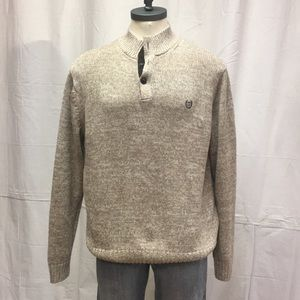 Large CHAPS Knit Sweater elbow patch EUC